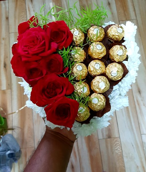 ferrero and roses bouquet
